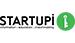 logo da startupi em caixa alta e letras pretas. Uma frase em baixo da palavra startupi. Ícone verde e branco depois do I.