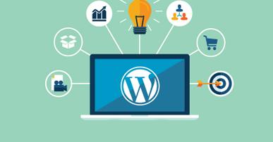 Imagem. Tela de computador com o símbolo do WordPress . Ao redor da tela os seguintes símbolos: alvo, carrinho de mercado, lâmpada, gráfico, câmera de vídeo.