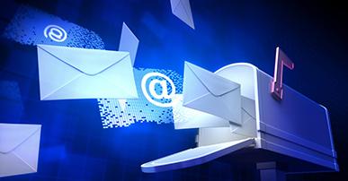 Imagem. Caixa de correio aberta e dela saem diversos envelopes e símbolos de @, indicando que são e-mails. O fundo é azul.