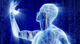 Imagem. Homem estilizado remetendo ao ambiente digital ou robóticao. Ele olha para sua própria mão que está levantada.