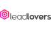 logo da leadlovers em letras pretas em caixa baixa. lovers está em negrito. Na frente do logo uma figura geométrica de 6 lados da cor rosa.