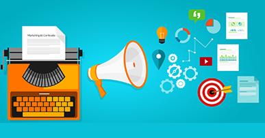 Imagem. Máquina de escrever laranja com uma folha nela. Ao lado um alto-falante. Do alto-falante saem algumas figuras como: lâmpada, alvo, engrenagens, gráficos, papéis.