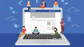 imagem. Notebook aberto e desenho de 3 pessoas sentadas em cima do teclado e uma de pé. 3 pessoas em cima da tela do computador. Fundo da imagem azul. Ao redor da tela, no fundo da imagem, imagens de balão de fala, nuvem e tela de computador.