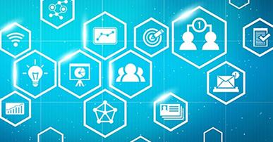 Imagem com fundo azul e ícones brancos dispostos dentro de losangos por toda a imagem. Dentro dos losangos temos desenhados: lâmpada, pessoas, gráficos, símbolo de wi-fi, documento lido, envelope e alvo.