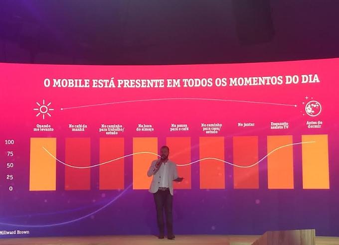 Foto. Lucas Amadeu, está de pé e segura um microfone. Atrás dele um painel que mostra como o mobile está presente no dia a dia do brasileiro.