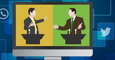Imagem. Uma tela de tv dividida em duas cores, verde e amarelo. Dentro da tela a imagem de dois homens com terno e gravata. Na frente deles um palanque com dois microfones. Fora da tela, quadrados azuis sendo que um deles mostra o símbolo do WhatsApp e outro o do Twiiter.