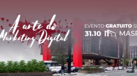 Foto da parte externa do Masp. Prédio espelhado, com duas colunas vermelhas na lateral. Na foto também é possível observar a Avenida Paulista com carros e uma pessoa atravessando a rua. No topo da imagem o nome do evento e a data e local estão indicados com lestras brancas.