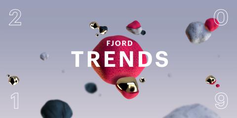 Imagem. Fundo cinza com os número 2 0 1 9 em cada canto da imagem. No meio uma pedre rosa e algumas pedras cinzas e rosas em volta da imagem. No centro está escrito Fjord Trends.