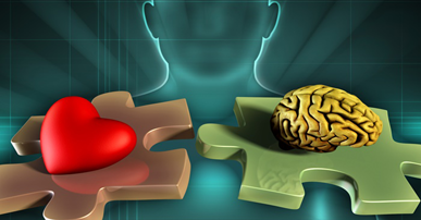Imagem. Contorno de o rosto de uma pessoa com traços que representam o nariz e a boca. Na frente dela duas peças de quebra-cabeça. Uma delas tem um coração vermelho em cima a outra tem um cérebro amarelo.