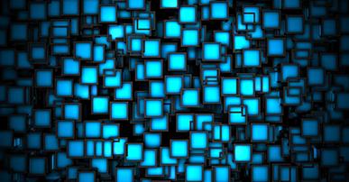 Imagem. Vários quadrados pequenos da cor azul. Alguns mais claros, outros mais escuros.