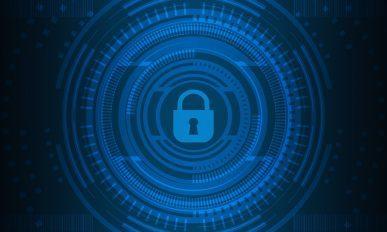 Imagem: Fundo azul com um cadeado fechado e círculos ao redor.