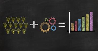 Imagem: Lousa com desenhos representando ideias mais tecnologia igual crescimento. Retargeting.