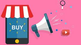 """Imagem: fundo rosa com celular escrito """"comprar""""."""