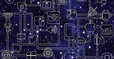 Imagem: fundo azul com logos de redes sociais conectados.