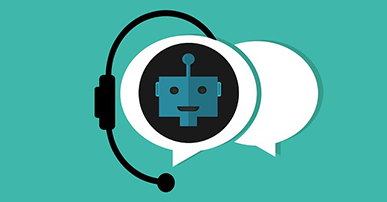 Imagem: balões de conversa com robô dentro e microfone remetendo a chatbot.