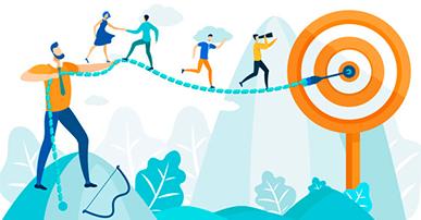 Imagem: líderes ajudando outras pessoas a alcançar objetivos.