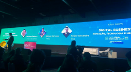 Foto: Talk Show entre profissionais do mercado de marketing sobre transformação digital no Brasil, no Expo Fórum Digitalks.