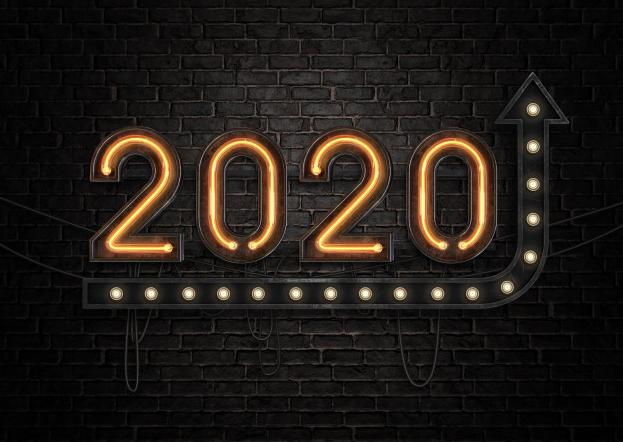 Imagem: letreiro luminoso com o número 2020 e uma seta para cima. inovação.